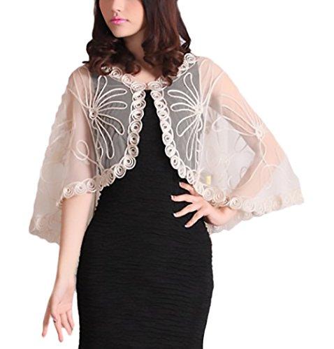 Laisla Fashion Umhang Damen Sommer Elegant Vintage Cardigan Transparent Spitze Jungen Mode Kleidung Party Cardigan Bolero Cape Poncho Für Brautkleider Bolerojacke