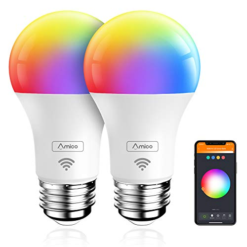 Amico Smart Light Bulb, Music Sync RGBCW Color Changing, No Hub Required, Compatible with Alexa, Siri, Google Home, 810LM A19 E26 LED WiFi Bulbs, 9W=60W, No Hub Required 2 Pack