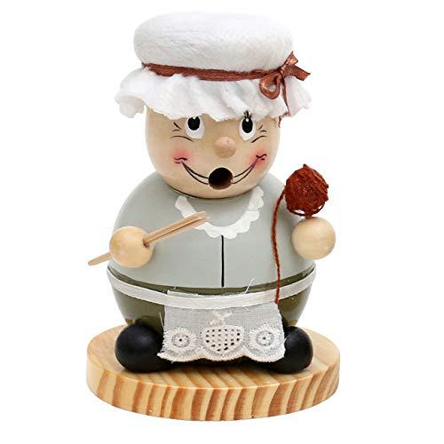 Dekohelden24 Niedliche Räucherfigur als lustige Oma mit olivem Kleid und Strickutensilien, ca. 15 cm
