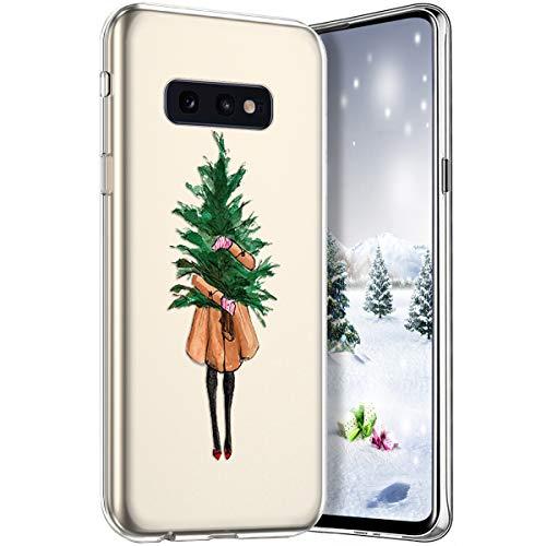 Coque pour Samsung Galaxy S10e Christmas Flocon de Neige Cerf Sapins Père de Noël XMAS Motif Transparent Coque en Silicone Gel TPU Souple Antichoc Bumper Case Housse Etui Case,Arbre de Noël,Fille