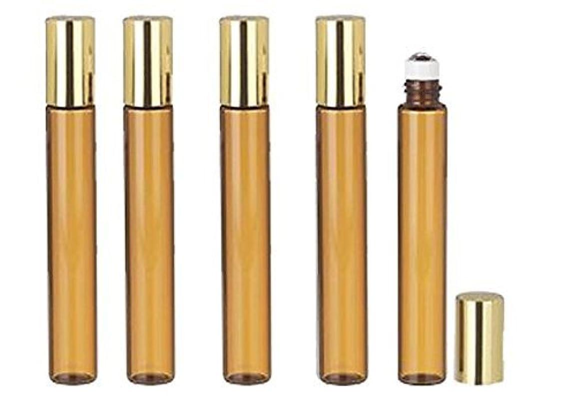 ミシン目診療所変更可能Grand Parfums 12 Pcs Thin Tall Amber Glass Brown 10ml Roll on Bottle with Gold Metallic Caps for Essential Oil Steel Metal Roller Ball for Travel [並行輸入品]
