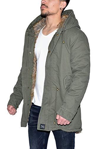 Prestige Homme Herren Winter Jacke Parka Khaki Grün mit Kapuze Vintage Parka Mantel Winterjacke