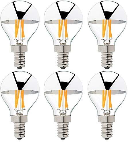 Bulbright G45 Kopfspiegel Silber LED Glühbirne E14 Edison Lampe ersetzt 40 Watt, 4W, 350 Lumen, 2700K warmweiß, LED Filament Fadenlampe, für Hängelampe Wandleuchte Pendelleuchte 6Pack (E14)