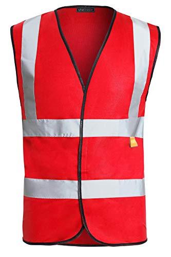 Shelikes Warnweste, 2 Bänder und Hosenträger, Größe S bis 4XL Gr. XXL (Brust 120/128 cm), rot