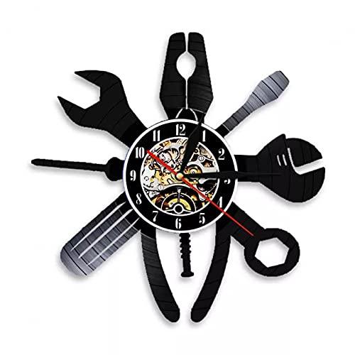 mbbvv Reloj de Pared Decorativo de Pared de reparación de automóviles, Servicio de Coche, mecánico, salón de Garaje, Registro de Vinilo, estación de Taller, Letrero Colgante