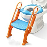 Potty Training Toilet Seat with Step Stool Ladder for Boys and Girls Baby Toddler Kid Children Toilet Training Seat Chair with Handles Sturdy Wide Step (Blue Orange Upgrade)