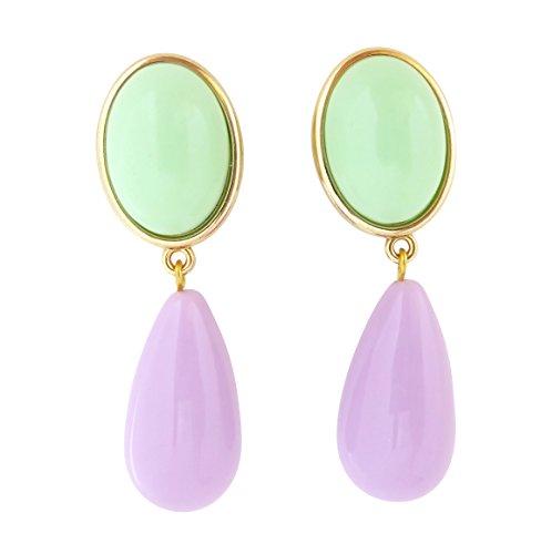 Pendientes de clip de color verde y lila, ligeros, muy grandes, chapados en oro, piedra menta, colgante lila en forma de gota de diseñador, Just Twin, moderno, elegante