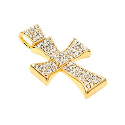 GYXYZB Goud Kleur Kruis Ketting Voor Heren Vrouwen Trendy Cross Charm Hanger Met Lange Ketting