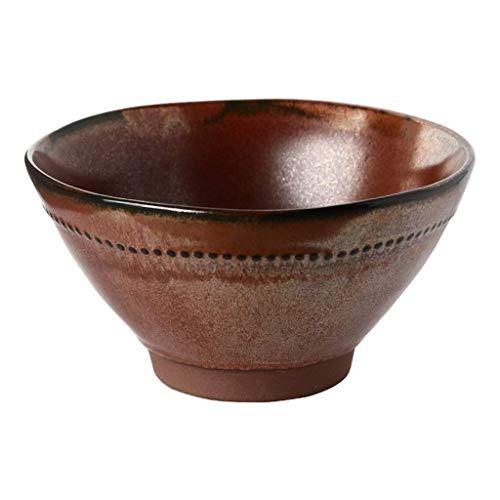 Cuenco de la cultura popular Ramen tazón retro ladrillo rojo tazón de cerámica vajillas tazón de sopa de arroz de metal creativa mezcla de ensalada esmalte 18 * 8 * 9.3cm cuenco de la cultura popular