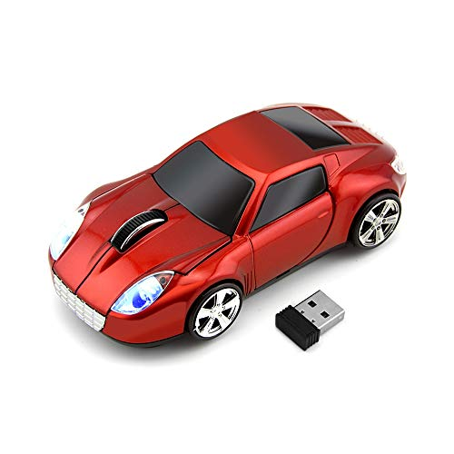 Ai5G for TR Racing Car Mouse Wireless Sport Car Shape Mouse Laptop Computer Optical Mouse Gaming Mice with 2.4GHz Nano USB LED Headlight Shiny Surface Decoration (Red)