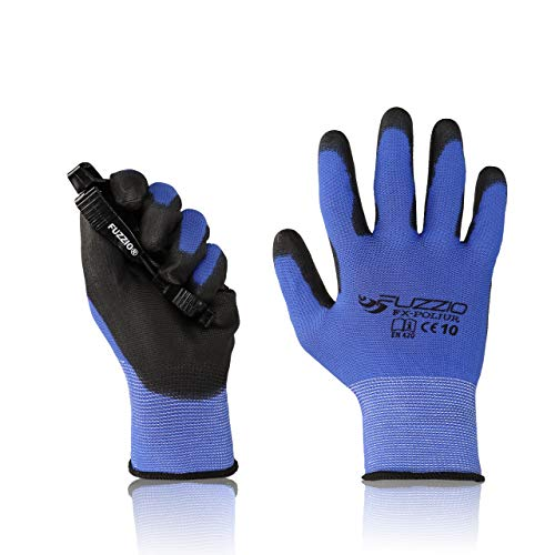 FUZZIO Arbeitshandschuhe 20 Paar PU Beschichtung Bauhandschuhe Montage mit Handschuh-Klammern(XL|10, Blau)