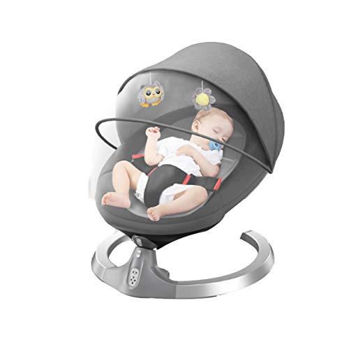 MOZX Bluetooth Columpio Bebe Eléctrica con Mando A Distancia, Mecedora Eléctrica con 5 Amplitudes/Música/Cinturón De Seguridad/Techo Removible Y Mosquitera, para 0-24 Meses Niños,Negro