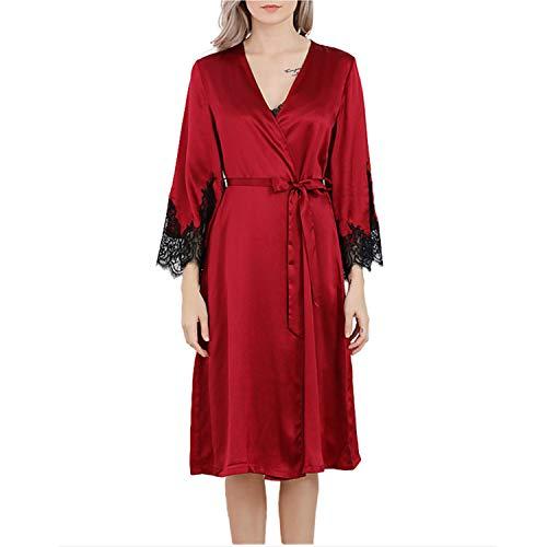 LZJDS Bata Kimono Mujer, 2 Piezas Seda Corto Pijama Vestido De Encaje Conjunto De Lencería Albornoz Vestido De Dama De Honor De Camisón,Dark Red,M