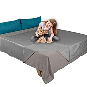 Ameritex Pet Bed Blanket Reversible 100% Waterproof Velvet Super Soft for Sofa and Bed (52×82 Inches, Light Grey+Grey)