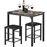 Payhere Modern Dining Kitchen Table -3 Piece Dining Set Faux Marble Rectangular...