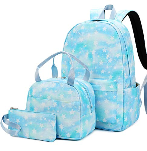 Bookbag Girls School Backpack Cute Schoolbag fit 15inch Laptop Insulated Lunch bag for Teens Boys Kids Travel Daypack (Tie dye Blue - T0067)