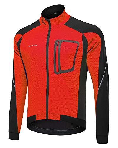 YAOTT Herren Fleece Warm Jacket Winddichte Fahrradjacke Atmungsaktiv Softshelljacken Männer Windjacken für Radsport Mountainbike Winter rot 4XL