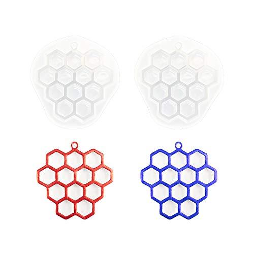 Nifocc Llavero de panal de abeja, de silicona, con forma de colmena, colgante de resina con agujeros, para manualidades, joyas y manualidades, 2 unidades
