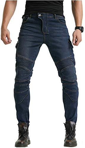 Motorradhose für Herren, Cross-Racing-Hose mit 4 herausnehmbaren Schutzpolstern, Anti-Fall-Hose (Blau,XL)