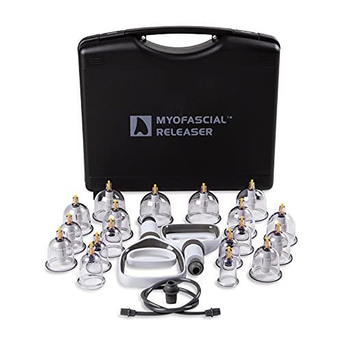 Professional Cupping Therapy Set by Myofascial Releaser - 18 multi-sized vacuum cups with two hand pumps and detailed cupping book - Massage cupping set for massage therapists