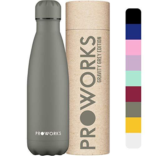 Proworks Edelstahl Trinkflasche | 24 Std. Kalt und 12 Std. Heiß - Premium Vakuum Wasserflasche - Perfekte Isolierflasche für Sport, Laufen, Fahrrad, Yoga, Wandern und Camping - 1 Liter - Anthrazitgrau