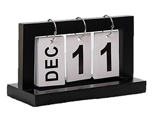 [クイーンビー] 万年 カレンダー 日めくり 卓上 おしゃれ ホーム オフィス デスク インテリア 飾り 装飾 シンプル デザイン ナチュラル ウッド 木製 (ブラック)