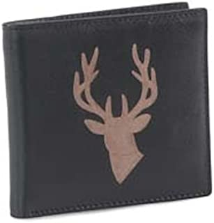 Authentic Leather Guild Grained Dark Brown Leather Highland Stag Head Engraved Wallet