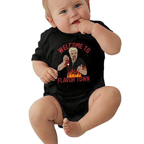 MillicentCob Guy Fieri Welcome to Flavortown Newborn Baby Keep Warm Breathable Printed Rompers Baby Short Sleeve Jumpsuit 0-3M Black