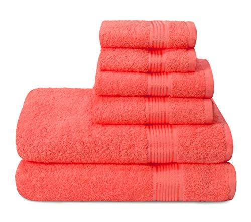 GLAMBURG Ultra Soft 6er-Pack Baumwoll-Handtuch-Set, enthält 2 übergroße Badetücher 70 x 140 cm, 2 Handtücher 40 x 60 cm und 2 Waschbetten 30 x 30 cm, Korallenorange