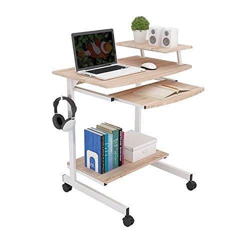 KAISIMYS Escritorio para computadora de 2 Niveles, Mesa de Centro móvil con Estante para Impresora/Bandeja para Teclado, Mesa de Estudio con Ruedas para Oficina en casa, Soporte de Escritorio de 50