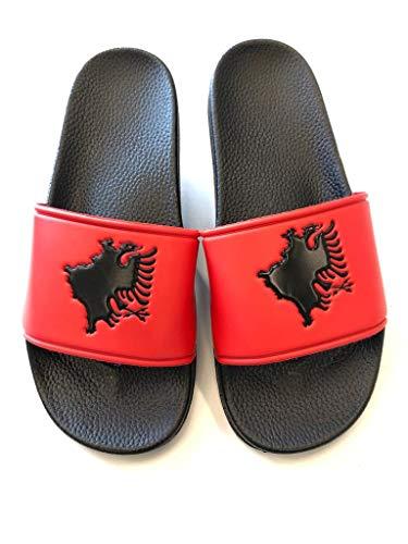 NATAR Badeschlappen Badelatschen Shqipletten Unisex Slides schwarz rot Albanien Albania Kosovo (43 EU)
