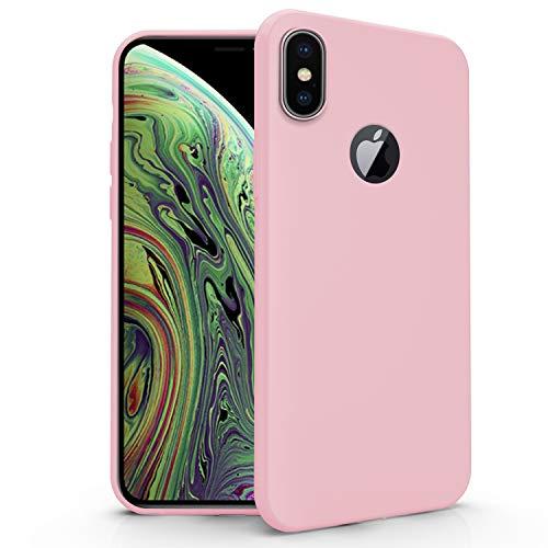 N NEWTOP Cover Compatibile per Apple iPhone XS Max, Custodia TPU Soft Gel Silicone Ultra Slim Sottile Flessibile Case Posteriore Protettiva (Rosa)