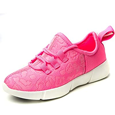 chen sout Fiber Optic LED Shoes USB Charging Light Up Fashion Sneaker for Festivals Party Flashing Luminous Shoes for Women(9.5 M US,Pink,41)