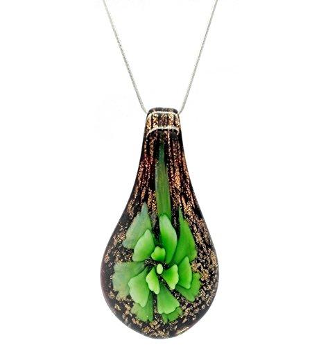 Decorativo motivos florales verde en forma de lágrima de cristal persiana veneciana de Murano con forma de diseño de flores lámpara de techo collar con colgante en forma/
