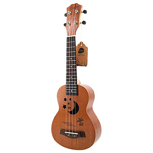 YeBetter Sopran Ukulele 21 Zoll Sapele Star Pattern Ukulele 4 Nylon Saiten Hawaii Gitarre Uke Griff Brett Palisander Ukelele Musik Instrumente