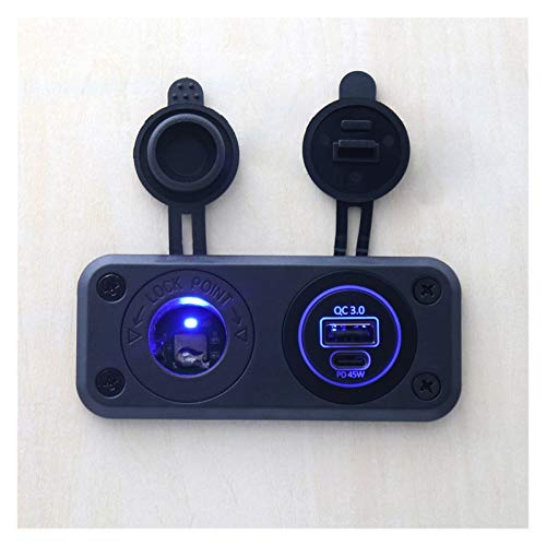 YANGJUANJUAN Puerto de Cargador de Coche USB Doble 5/9/12/15 / 20V LED Panel de Interruptor 180W Encendedor de Cigarrillos Encendedor para Accesorios para automóviles de Barco