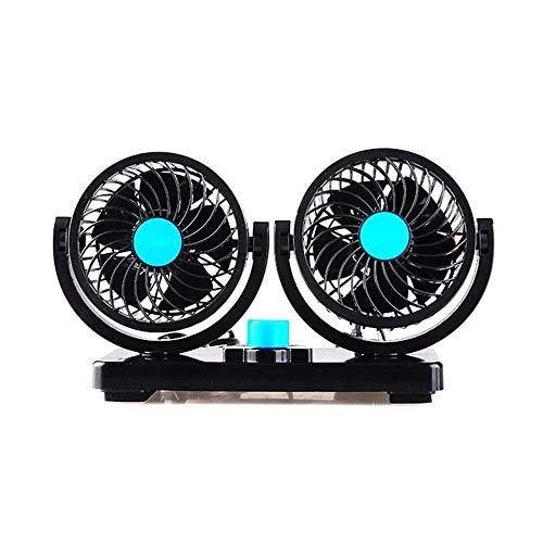 DFYYQ Coche del Ventilador Principal Doble de 12V / 24V Silencio Grande del Viento del Ventilador de refrigeración rotación de 360 Grados (Color : Blue)