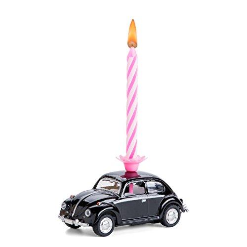 corpus delicti :: Vela sobre Ruedas - el Regalo de cumpleaños con Vela para Todos los fanáticos de Beetle - VW Beetle / Escarabajo de VW de Metal (Negro)