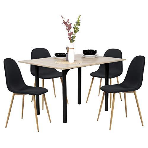 Table à Manger - Table de Cuisine scandinave Ajustable Extensible, Plateau en MDF, Table de Bureau avec Structure en métal
