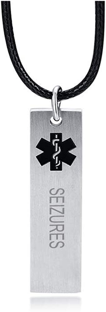 VNOX Custom Engraving Medical Symbol Alert ID Stainelss Steel Vertical Tag Pendant with Rope Chain 24