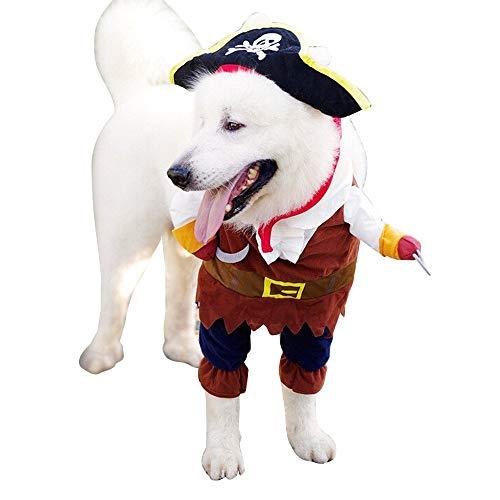 WEIJ Huisdier Kleding Piraat Zeeman Halloween Kerstfeest Gift Fancy Jurk Kostuum Outfit voor Honden Kat, M, A