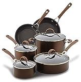 Circulon Innovatum Hard Anodized Aluminum 10-Piece Cookware Set, Cocoa (83827)