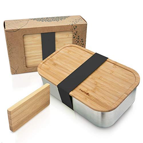 freshbox.® Fiambrera sostenible de acero inoxidable y bambú, 1100 ml, con tabla de cortar y división, caja bento, caja de comida preparada, fiambrera ecológica, para niños y adultos, Zero Waste