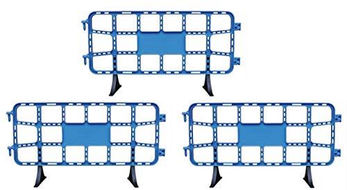 Kit 3 vallas plástico obra de 2 metros azules. Valla contención peatonal azul