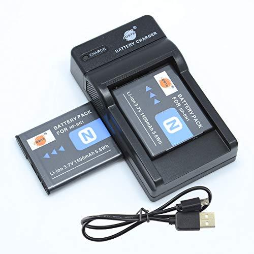 DSTE NP-BN1 - Batería y cargador para cámaras Sony DSC-QX10, DSC-QX100, DSC-TF1, DSC-TX5, DSC-TX7, DSC-TX9, DSC-TX10, DSC-TX20, DSC-TX30 (2 unidades)