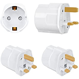 Incutex 2x Power Adapter EU to UK - Europe 2-Pin to 3-Pin UK - 16A Fuse - Travel Plug Socket European SchuKo in white