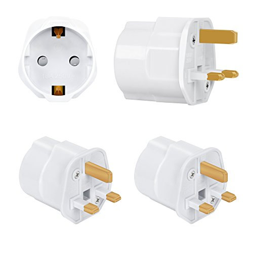 Incutex 2X Reisestecker UK GB England Travel Adapter EU Schuko 2-Pin auf UK 3-Pin Reise Steckdosenadapter Typ G, weiß