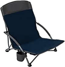 Pacific Pass Lightweight Camp and Beach Chair w/ Built-In Cup Holder, Includes Carry Bag - Navy/Gray