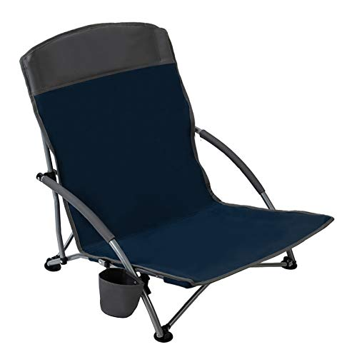 Pacific Pass Beach Chair Folding Lightweight Camping Chair Low Profile Camp Chair with Cup Holder & Storage Bag for Outdoor, Fishing, Hiking, Sand, Sports, Carry Bag Included