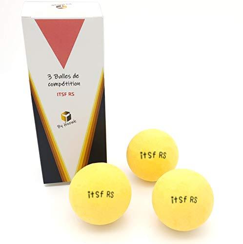 Scatola di 3 palline di Baby Foot ufficiali ITSF RS – Pallina molto solida con un ottimo grip – Rivestimento anti-scivolo. Ideale per tavoli da calcio balilla Bonzini René Pierre e Roberto Sport.